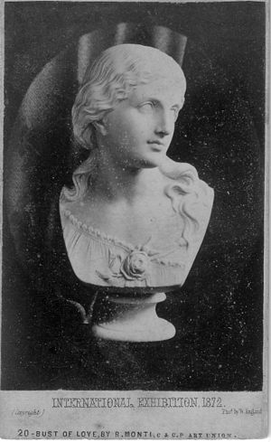 "Raffaelle Monti - Parian porcelain bust of ""Love"" by Raffaelle Monti. Issued by the Ceramic and Crystal Palace Art Union, and exhibited at the International Exhibition, London 1872. Photographed by William England, London Stereoscopic Company."