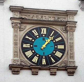 Lubań - Main clock at the market square