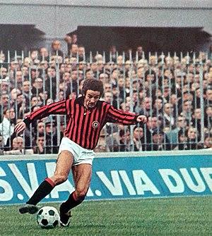 Luciano Chiarugi - Chiarugi in action with A.C. Milan at San Siro in 1972–1973 season