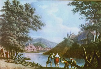 Pitești - Pitești in 1793, etching by Luigi Mayer