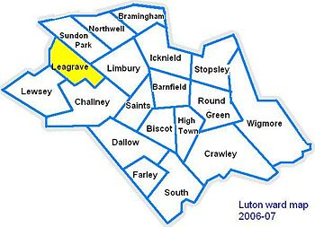 Map of Luton showing Leagrave location