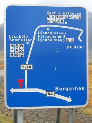 Oeconym - A road sign with oeconyms (Lýsuhóll, Lýsudalur) in Iceland