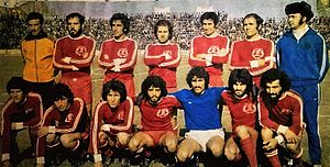Machine Sazi F.C. - Machine Sazi players with red colours during 1973–74 Takht Jamshid Cup. Later, the team's colours was changed to yellow, blue and then green