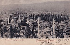 Fire of Manisa - A view of Manisa before the fire. Photograph taken from the south in northerly direction and showing the area around the Cami-i Kebir neighborhood with the Sultan and Muradiye imperial Ottoman mosques in front. A small area around these mosques were saved from the fire.
