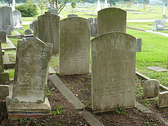 Magnolia Cemetery (Mobile, Alabama) - A portion of the Jewish Rest section, with graves inscribed in English and Hebrew.