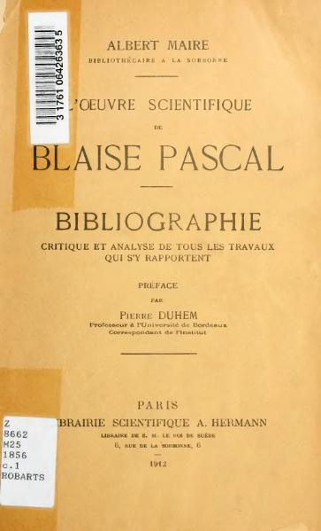 File:Maire - L'Œuvre scientifique de Blaise Pascal, 1912.djvu