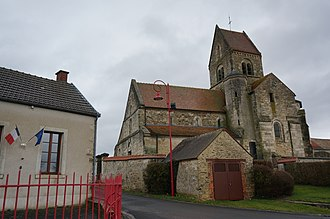 Aougny - The town hall and church in Aougny