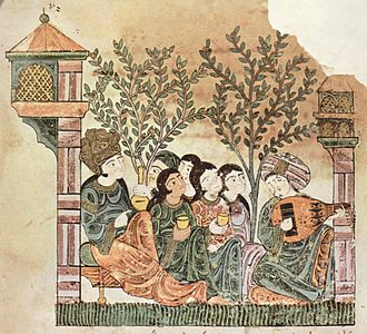 Women in Arab societies - A page from an Arabic manuscript from the 12th century, depicting a man playing the oud among women, (Hadith Bayad wa Riyad).