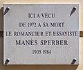 Manès Sperber plaque - 83 rue de Notre-Dame des Champs, Paris 6.jpg