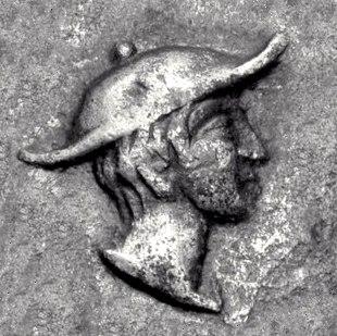 Man wearing Petasos Coinage of Kapsa Macedon circa 400 BCE