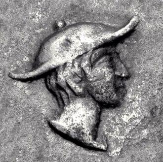 Petasos - Hermes wearing Petasos. Coinage of Kapsa, Macedon, circa 400 BC