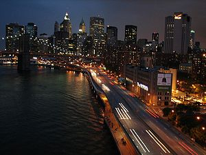 Night view of Manhattan, captured from the Man...