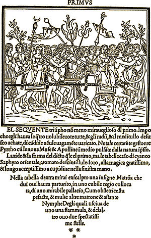 Aldus Manutius - A page from Francesco Colonna's Hypnerotomachia Poliphili, an illustrated book printed by Aldus Manutius