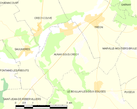 Mapa obce Aunay-sous-Crécy