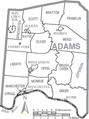 Manchester Ohio Map.File Map Of Adams County Ohio With Municipal And Township Labels Png