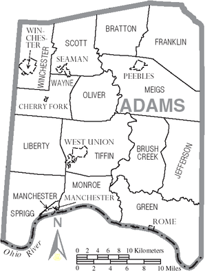 Map of Adams County Ohio With Municipal and Township Labels.PNG