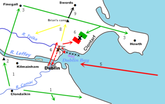 Battle of Clontarf - 1. Clondalkin and Kilmainham were plundered, Brian's son Donnchad (Donough) sacked Leinster (1014); 2. Brian's forces began war, camped near Kilmainham; 3. Finegall and Howth were plundered; 4. Vikings left Dublin to engage Brian; 5. Overseas Viking fleet arrived; 6. Battle of Clontarf; 7. Retreat of Vikings, some drowned in the sea, some forced through  Dubgall's Bridge and were attacked again, a few returned to Dublin; 8. Brodar's possible route, killed Brian and was killed himself; 9. Brian's remains to Swords, then to Armagh.