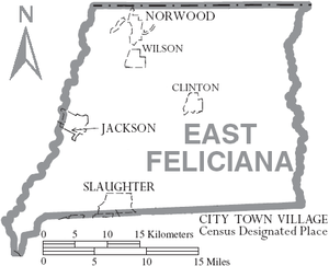 East Feliciana Parish, Louisiana - Map of East Feliciana Parish, Louisiana With Municipal Labels