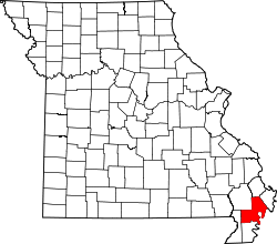 map of Missouri highlighting New Madrid County