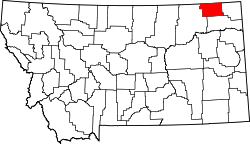 map of Montana highlighting Daniels County