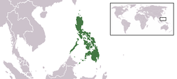 Location of Philippine Islands in Asia