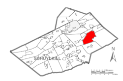 Map of Schuylkill County, Pennsylvania Highlighting Walker Township