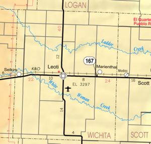 Wichita County, Kansas - Image: Map of Wichita Co, Ks, USA