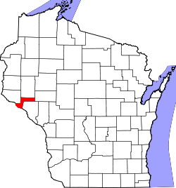 Map of Wisconsin highlighting Pepin County.svg