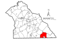 Map of York County, Pennsylvania Highlighting Fawn Township.PNG