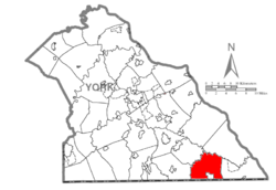 Map of York County, Pennsylvania highlighting Fawn Township