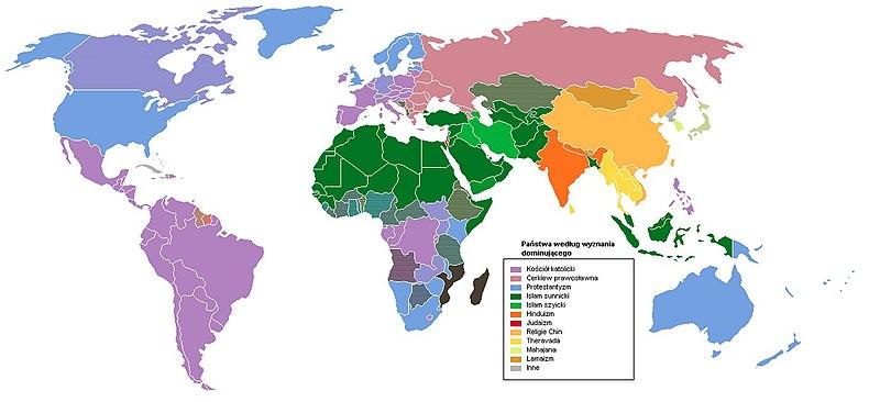 Państwa świata według wyznania dominującego