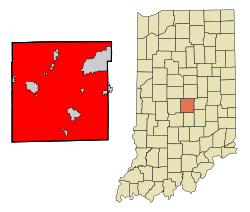 Marion County Indiana Incorporated and Unincorporated areas Indianapolis Highlighted.svg