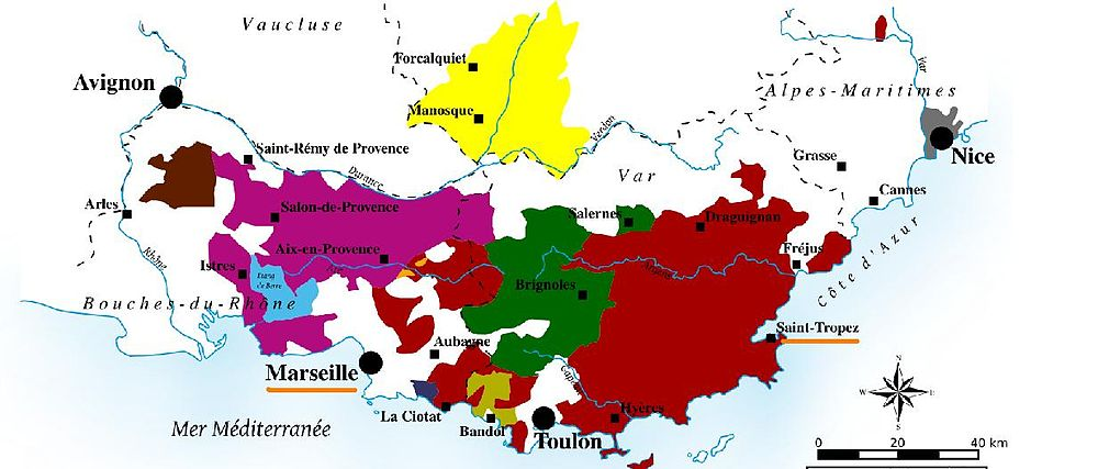 Location of Marseille and Saint-Tropez (underlined), where Tibouren may have been introduced to the Provence region Marseille and Saint Tropez in Provence highlighted.jpg