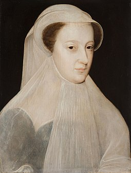 "Mary's all-white mourning garb earned her the sobriquet La Reine Blanche (""the White Queen""). Portrait by Francois Clouet, 1560. MaryQueenofScotsMourning.jpg"