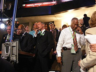 Maryland Democratic Party - Party leaders Elijah Cummings, Martin O'Malley and Michael Cryor minutes before announcing Maryland's votes at the 2008 Democratic National Convention