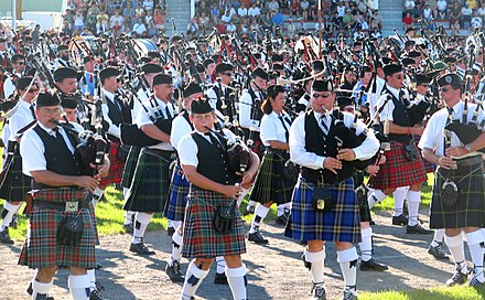 Massed pipebands at the Glengarry Highland Games, Ontario, Canada Massed bands.jpg