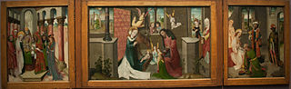 The Circumcision of Christ (left wing), The Birth of Christ (centre panel), The Adoration of the Magi (right wing), The Mass of Saint Gregory (closed, left wing), The Transfiguration (closed, right wi