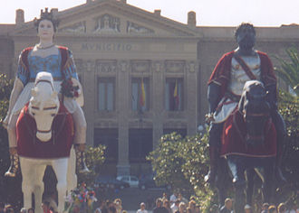 Legend - Giants Mata and Grifone, celebrated in the streets of Messina, Italy, the second week of August, according to a legend are founders of the Sicilian city.