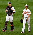 Matt Wieters and Wei-Yin Chen on May 15, 2012.jpg