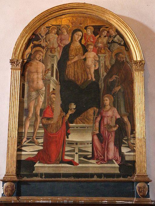 Matteo di giovanni, madonna col bambino e santi, 1480 circa 01