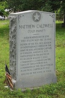 Mathew Caldwell Texan settler