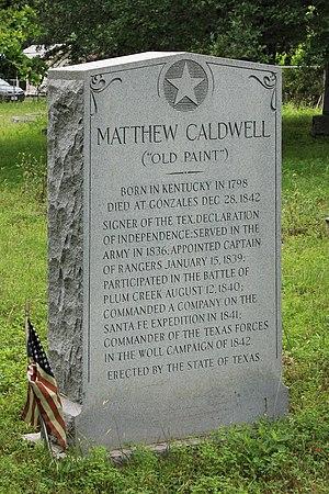 Mathew Caldwell - Monument at the gravesite of Matthew Caldwell.