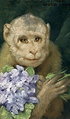 Monkey with violets.
