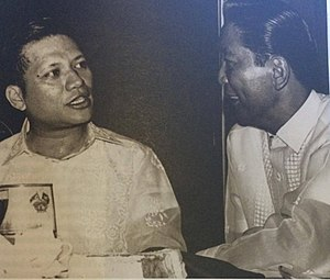 Max Soliven - Maximo Soliven with Ferdinand Marcos, who will eventually have him imprisoned (from Maximo V. Soliven: The Man and the Journalist)