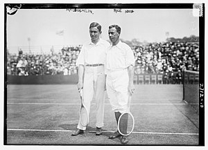 Horace Rice - McLoughlin and Rice during the quarter-finals of the 1913 International Lawn Tennis Challenge
