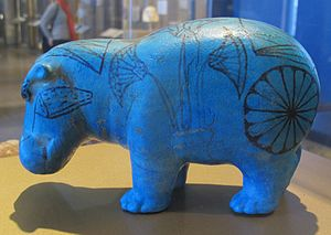 William the Faience Hippopotamus - Side view.