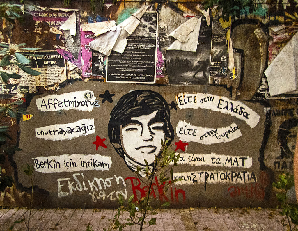 Memorial in Exarchia district, Athens, to Berkin Elvan who died from tear gas canister injuries in March 2014