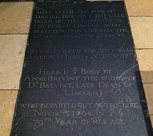 Daniel Brevint - Memorial to Daniel Brevint in Lincoln Cathedral