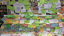 Handwritten notes of support and prayer for the flight on display
