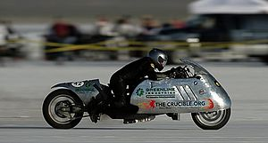 Michael Sturtz - On September 3, 2007 Michael rode Die Moto at the Bonneville Salt Flats, breaking the world land speed record using 100% biodiesel.